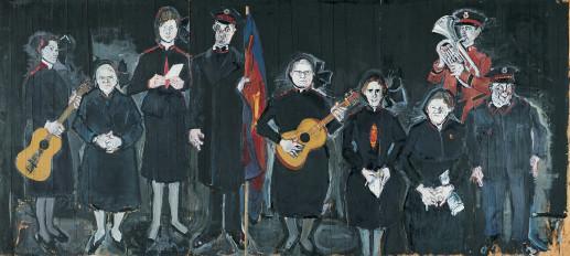 """Varlin """"Die Heilsarmee"""" / 1963/64 / Öl, Kohle, Acryl, Metall, Stoff auf Holz / 239 × 530 cm / Kunsthaus Zürich / Legat Friedrich Dürrenmatt"""