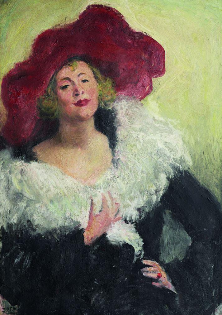 "Johann Peter Flück, ""Die Schauspielerin Hedda Koppé"", 1935, Öl auf Leinwand, 115 x 85 cm"