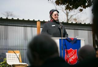 Majorin Heidi Oppliger, Leiterin des Korps Wien / La major Heidi Oppliger, responsable du Poste de Vienne