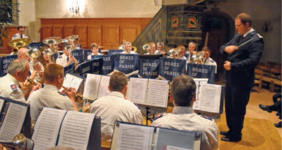 Die Brass of Praise mit dem Dirigenten Christoph Liechti.